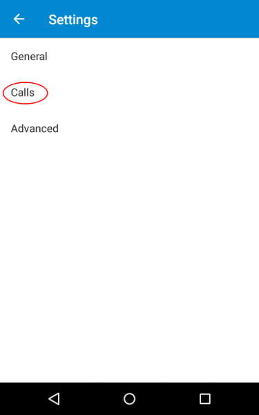 Android dialler settings screen