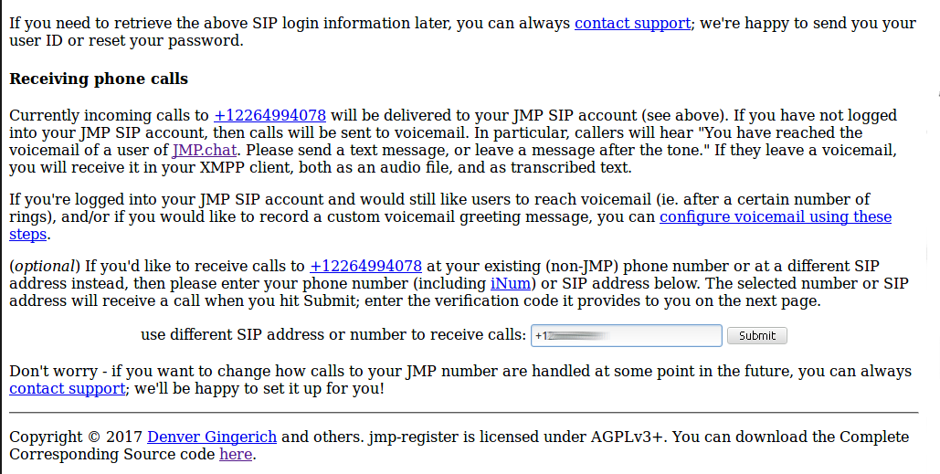 Set JMP forwarding number