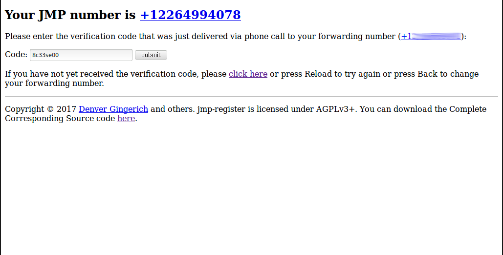JMP verification code from phone call