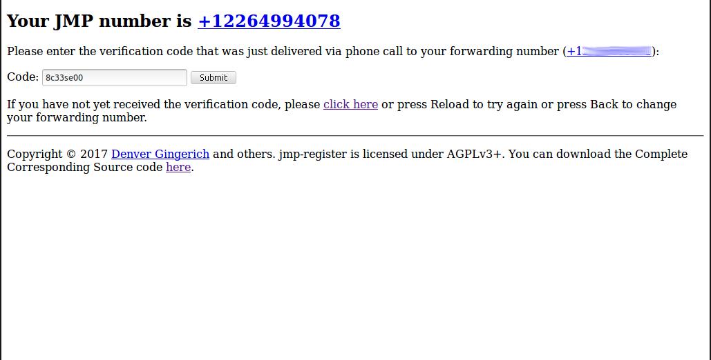 JMP verification code from phone call