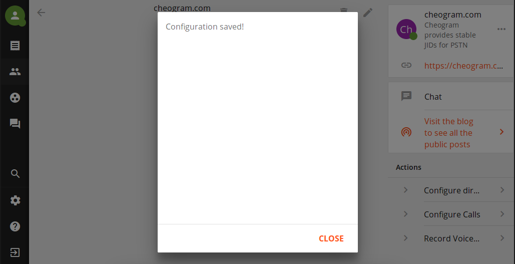 Message showing configuration has been saved